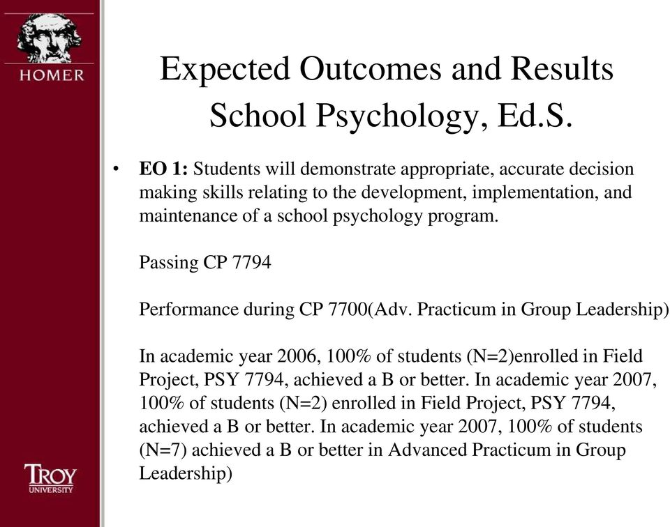 Practicum in Group Leadership) In academic year 2006, 100% of students (N=2)enrolled in Field Project, PSY 7794, achieved a B or better.