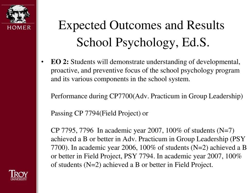 Practicum in Group Leadership) Passing CP 7794(Field Project) or CP 7795, 7796 In academic year 2007, 100% of students (N=7) achieved a B or better in Adv.