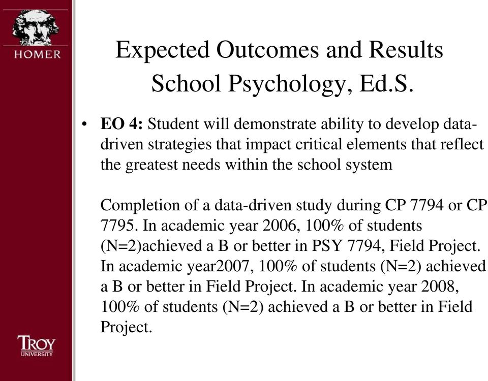 In academic year 2006, 100% of students (N=2)achieved a B or better in PSY 7794, Field Project.
