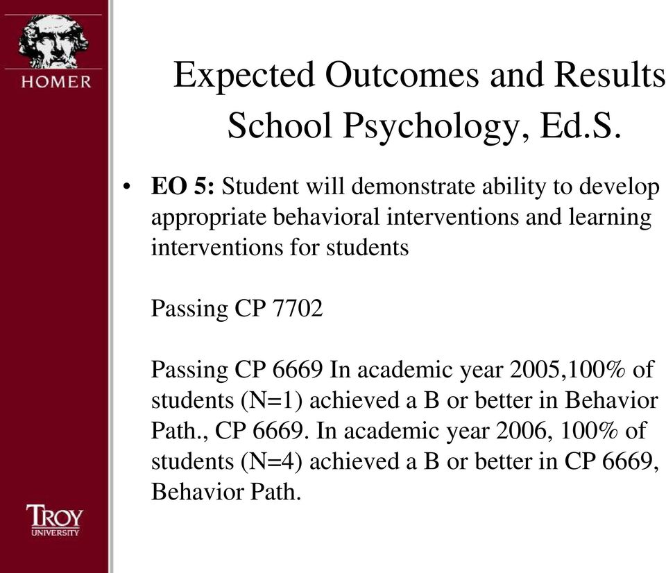 6669 In academic year 2005,100% of students (N=1) achieved a B or better in Behavior Path.