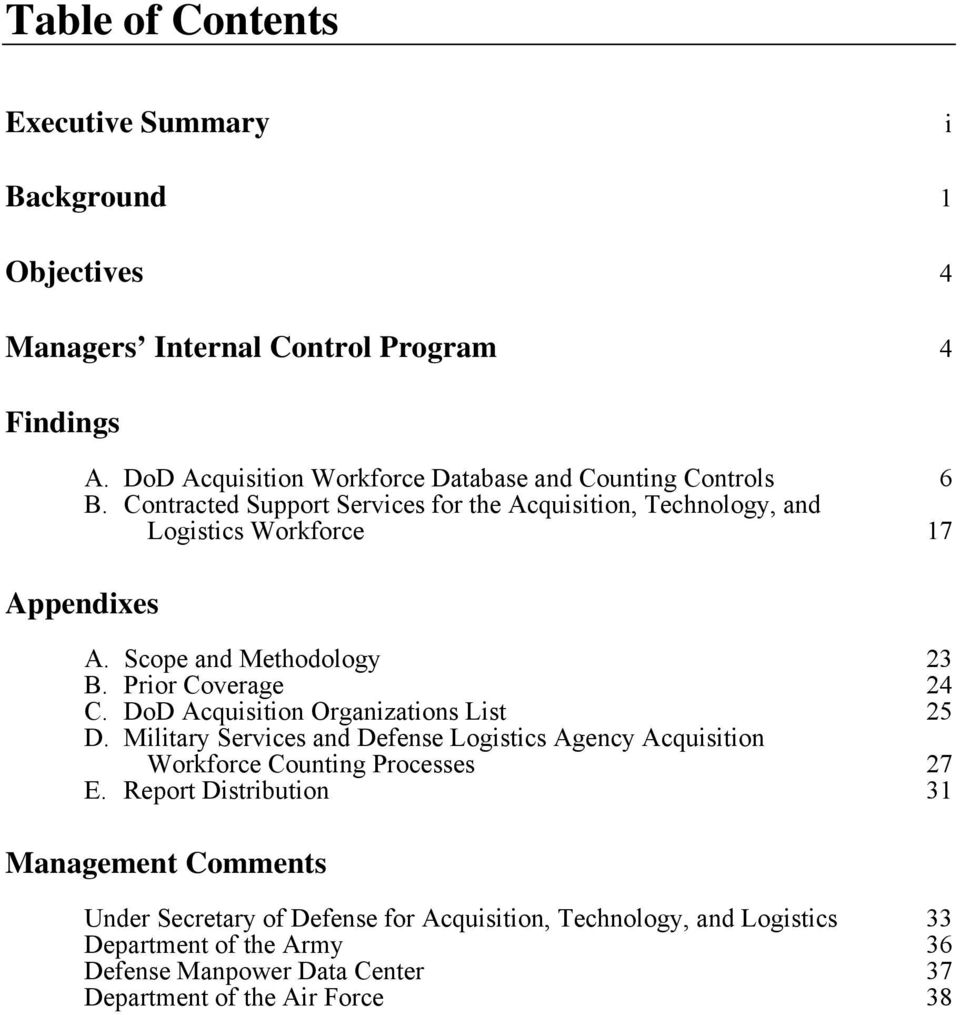 Scope and Methodology 23 B. Prior Coverage 24 C. DoD Acquisition Organizations List 25 D.
