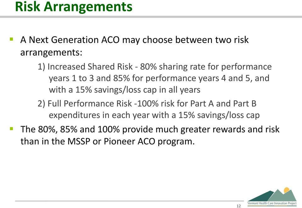 in all years 2) Full Performance Risk -100% risk for Part A and Part B expenditures in each year with a 15%