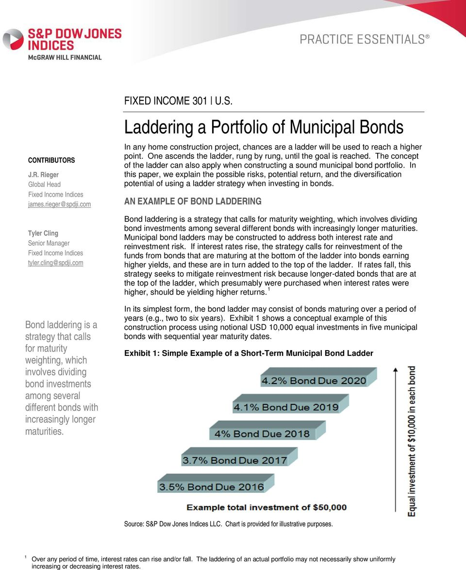 Laddering a Portfolio of Municipal Bonds In any home construction project, chances are a ladder will be used to reach a higher point. One ascends the ladder, rung by rung, until the goal is reached.