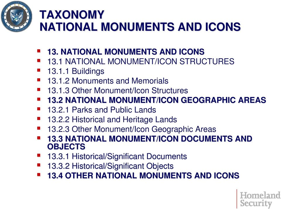 2.2 Historical and Heritage Lands 13.2.3 Other Monument/Icon Geographic Areas 13.