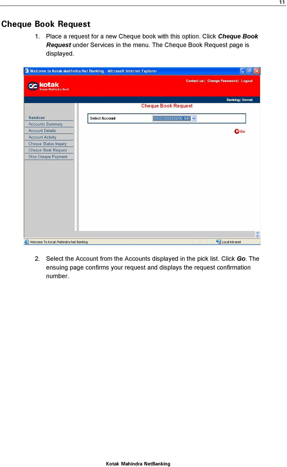 The Cheque Book Request page is displayed. 2.