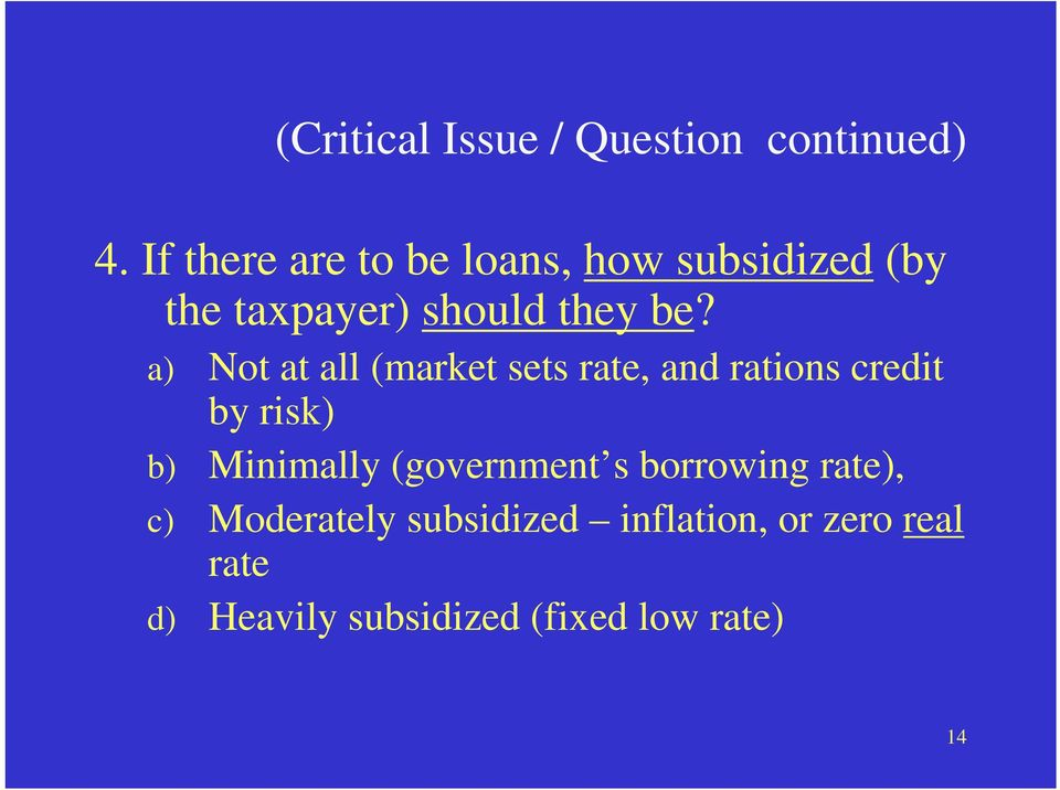 a) Not at all (market sets rate, and rations credit by risk) b) Minimally