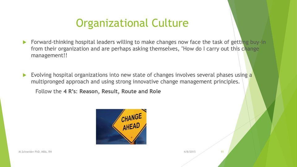 ! Evolving hospital organizations into new state of changes involves several phases using a multipronged
