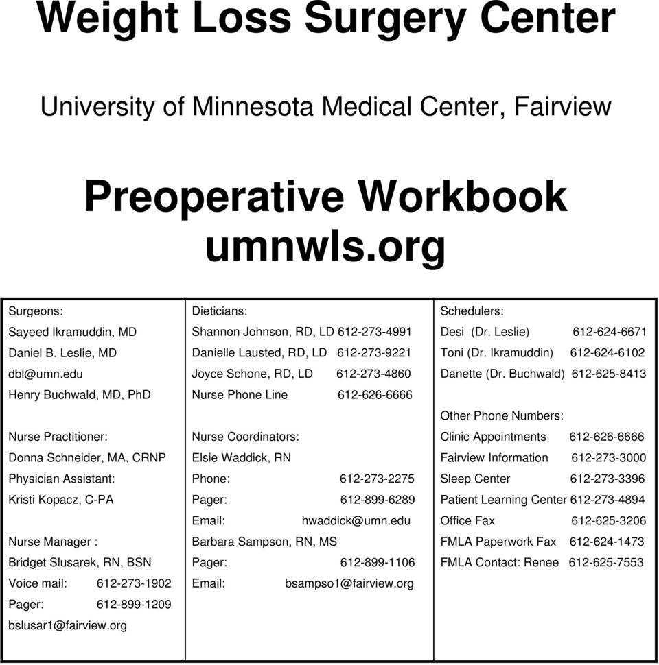 Weight Loss Surgery Center Preoperative Workbook Umnwls Org Pdf