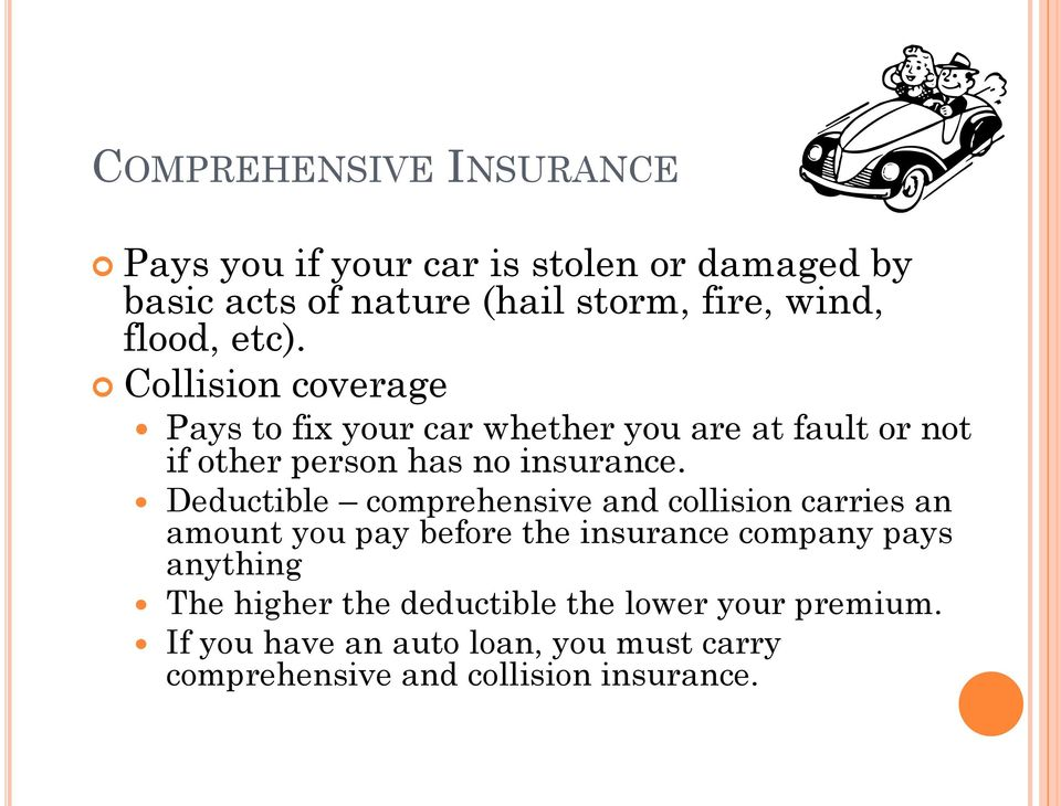 Deductible comprehensive and collision carries an amount you pay before the insurance company pays anything The