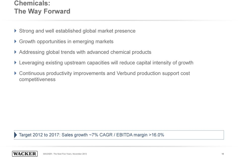 reduce capital intensity of growth Continuous productivity improvements and Verbund production support cost