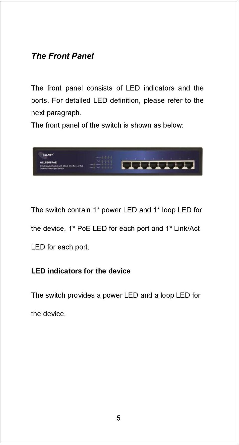 The front panel of the switch is shown as below: LED Definition The switch contain 1* power LED and 1*