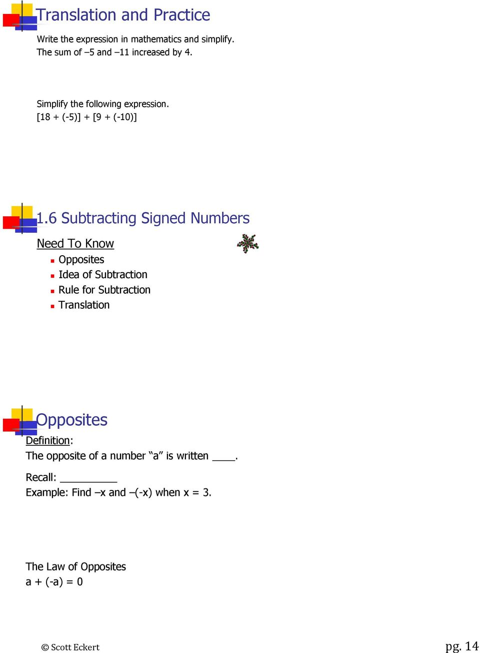 6 Subtracting Signed Numbers Need To Know Opposites Idea of Subtraction Rule for Subtraction Translation