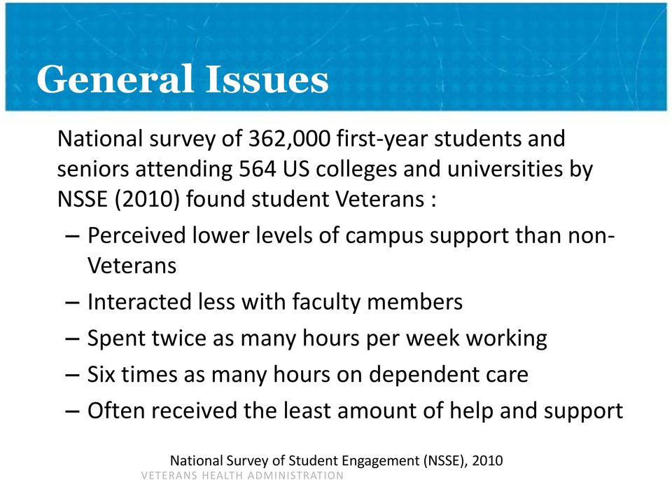 Veterans Interacted less with faculty members Spent twice as many hours per week working Six times as many