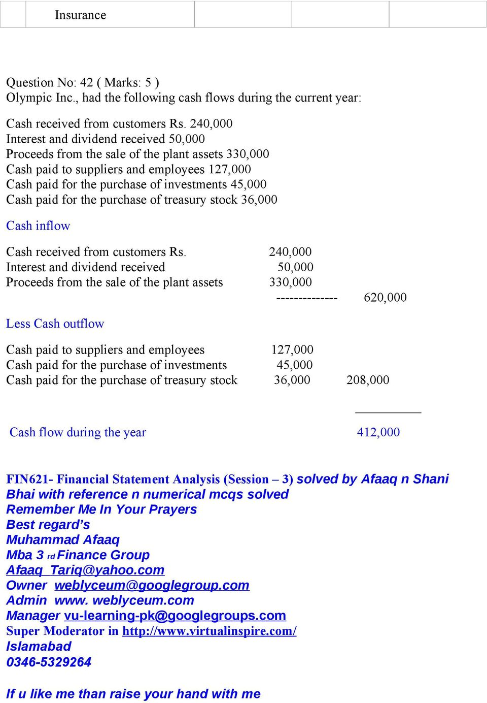 paid for the purchase of treasury stock 36,000 Cash inflow Cash received from customers Rs.