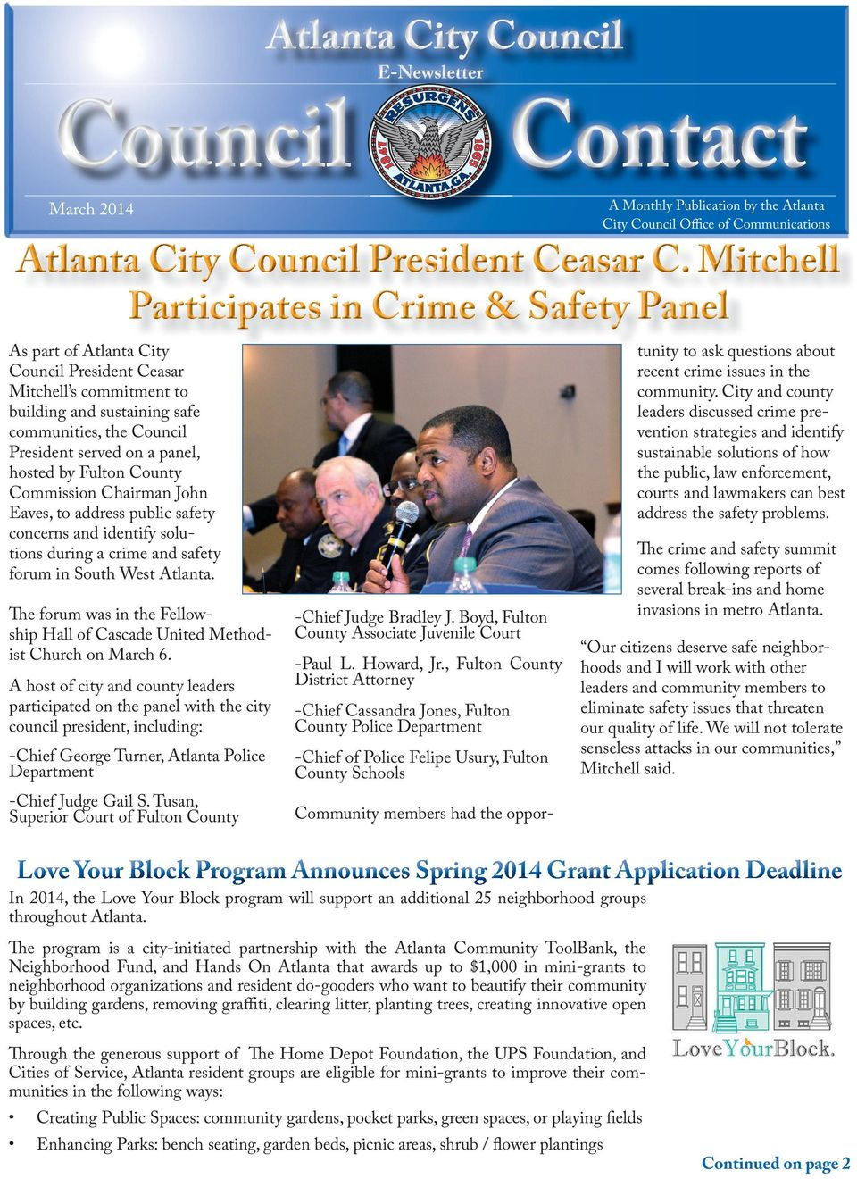 panel, hosted by Fulton County Commission Chairman John Eaves, to address public safety concerns and identify solutions during a crime and safety forum in South West Atlanta.