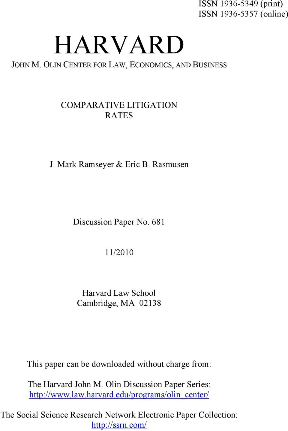 RATES J. Mark Ramseyer & Eric B. Rasmusen Discussion Paper No.