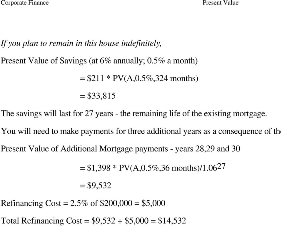 You will need to make payments for three additional years as a consequence of the refi of Additional Mortgage payments -