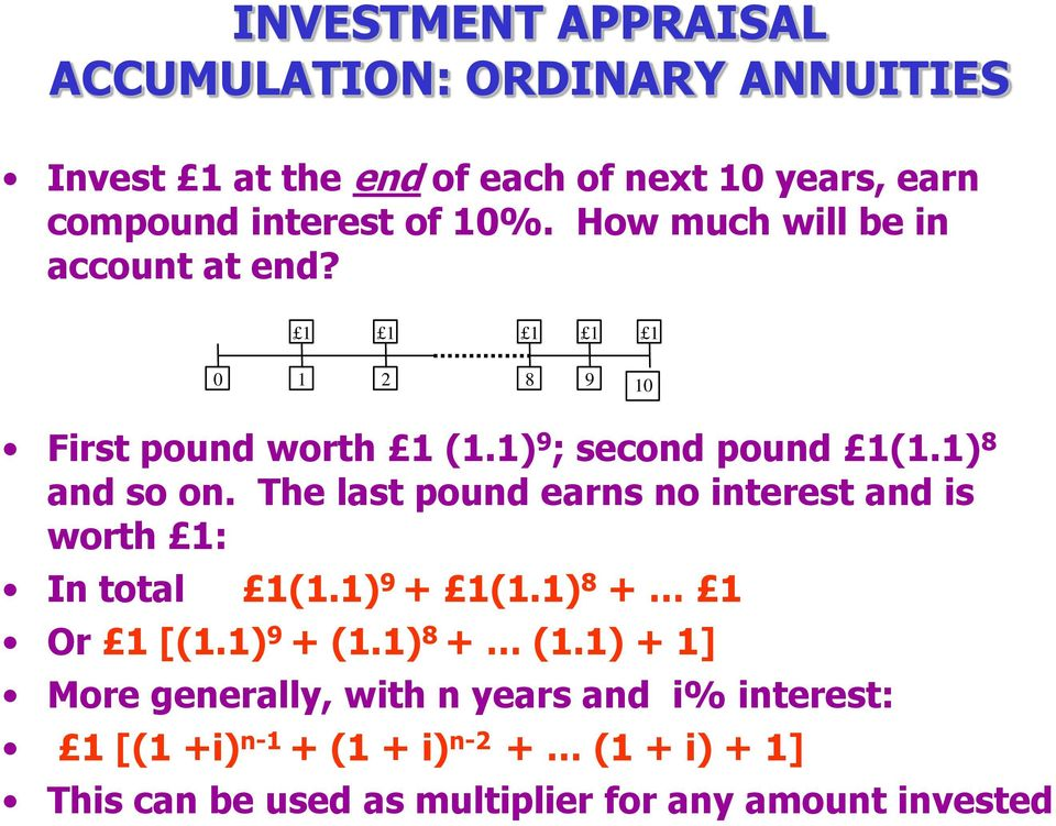 The last pound earns no interest and is worth : In total (.) 9 + (.) 8 + Or [(.) 9 + (.) 8 + (.
