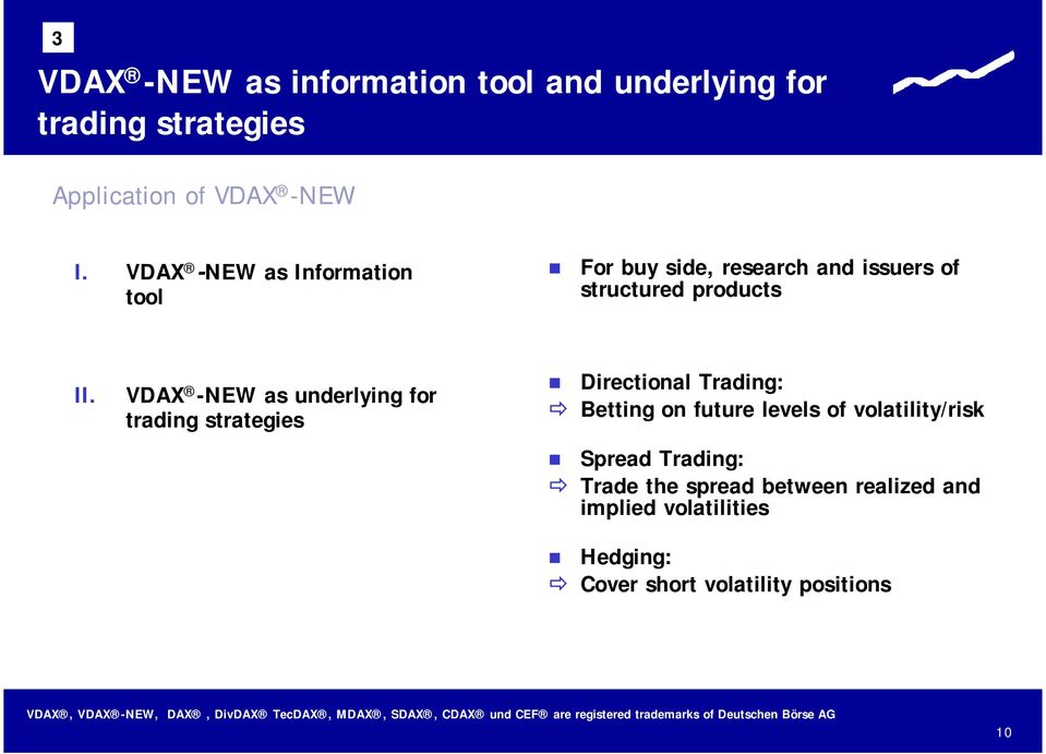 VDAX -NEW as underlying for trading strategies Directional Trading: Betting on future levels of