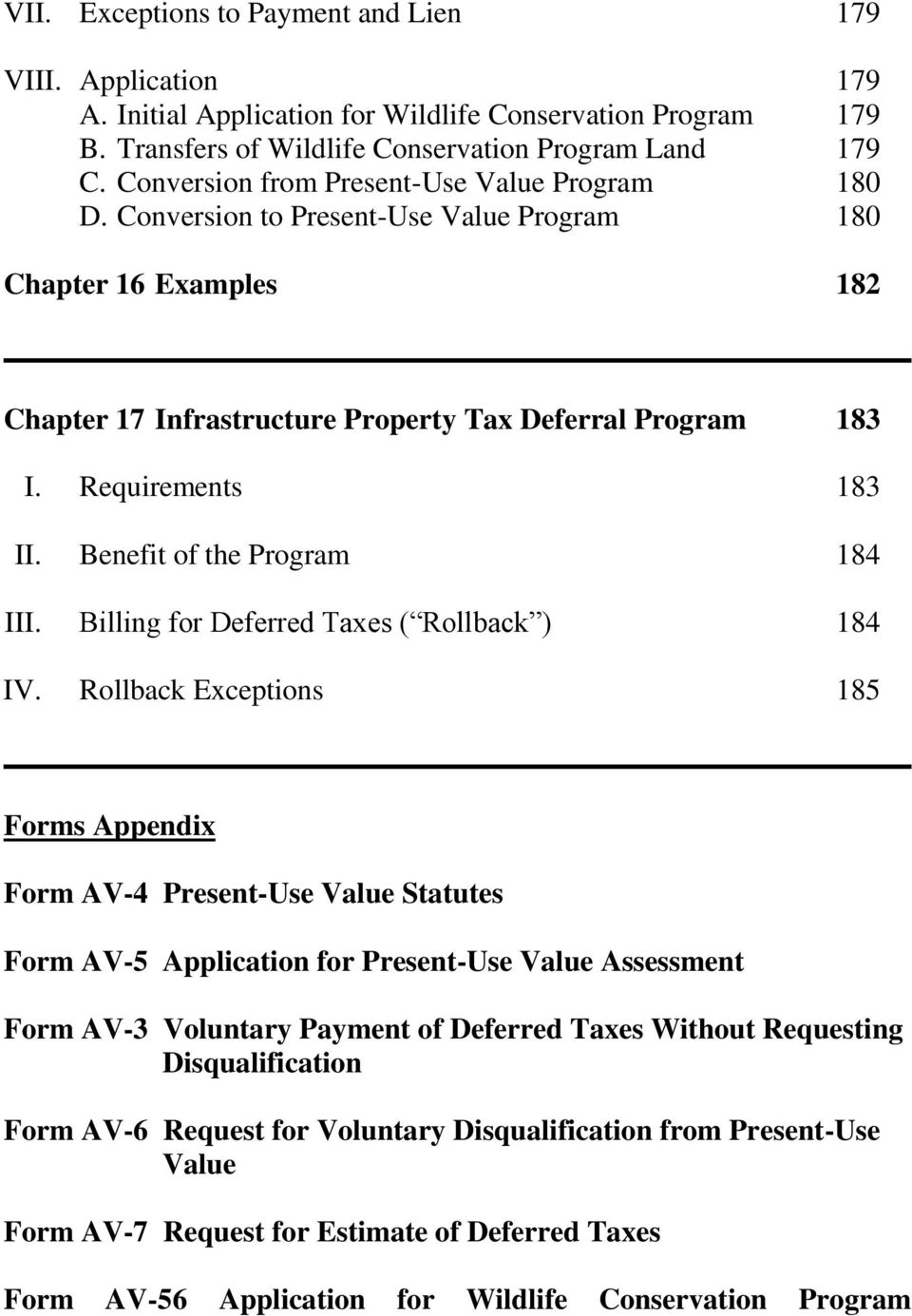 Benefit of the Program 184 III. Billing for Deferred Taxes ( Rollback ) 184 IV.