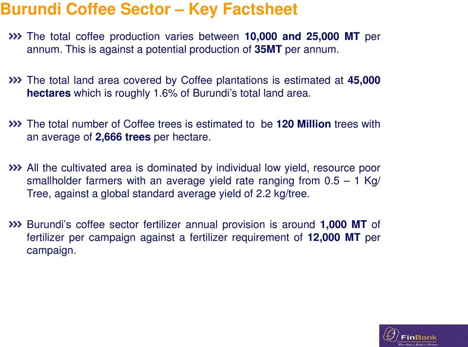 The total number of Coffee trees is estimated to be 120 Million trees with an average of 2,666 trees per hectare.