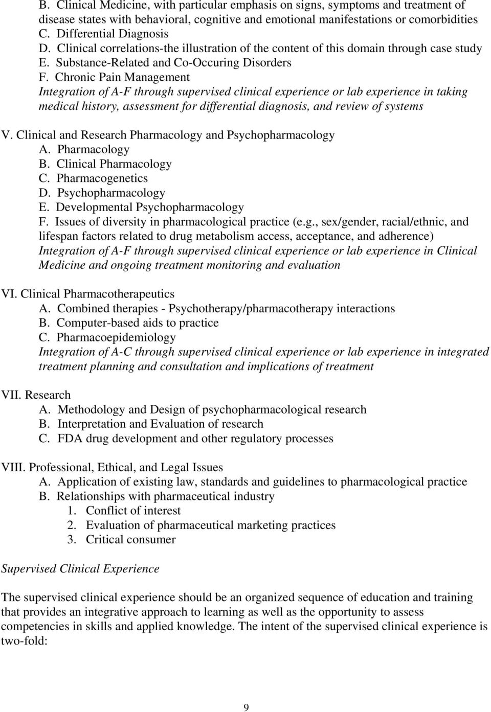 Chronic Pain Management Integration of A-F through supervised clinical experience or lab experience in taking medical history, assessment for differential diagnosis, and review of systems V.