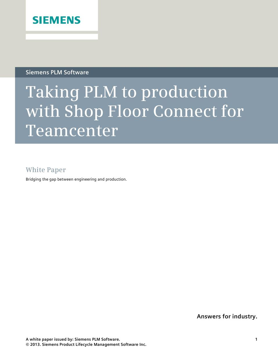 Teamcenter White Paper Bridging the gap
