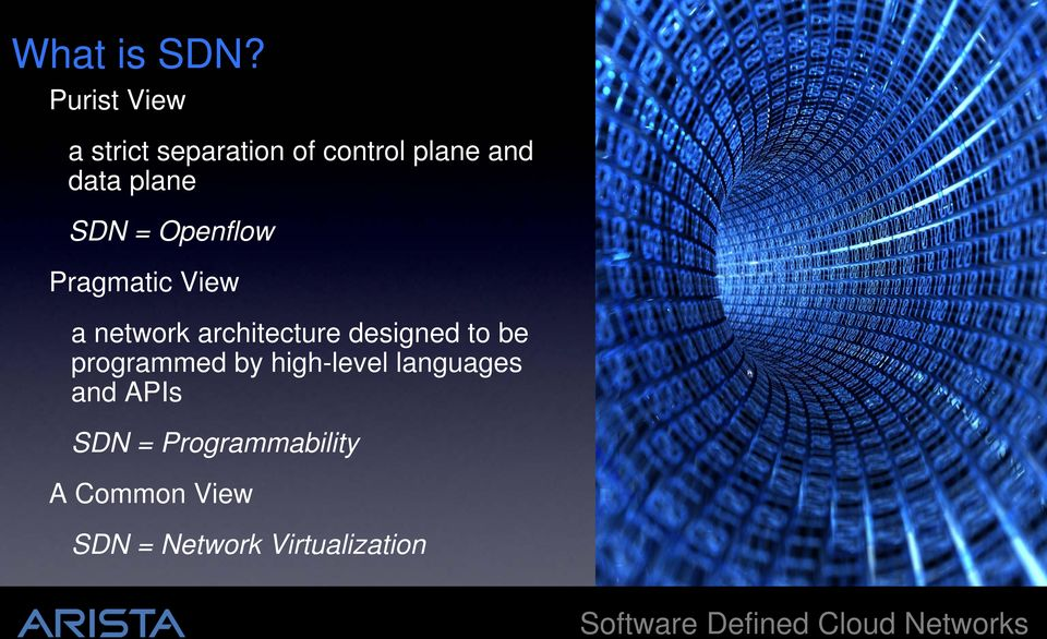 SDN = Openflow Pragmatic View a network architecture designed