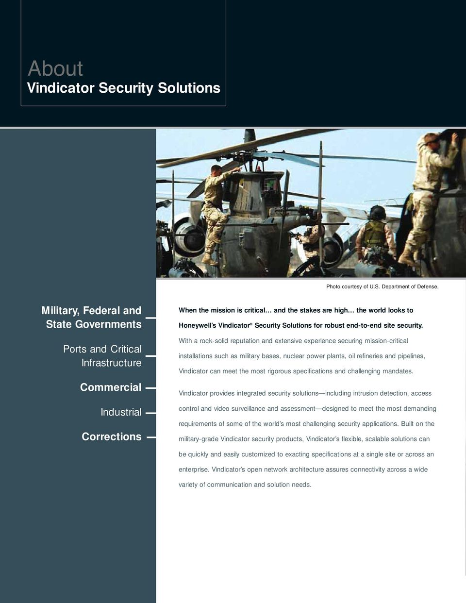 Vindicator Security Solutions for robust end-to-end site security.