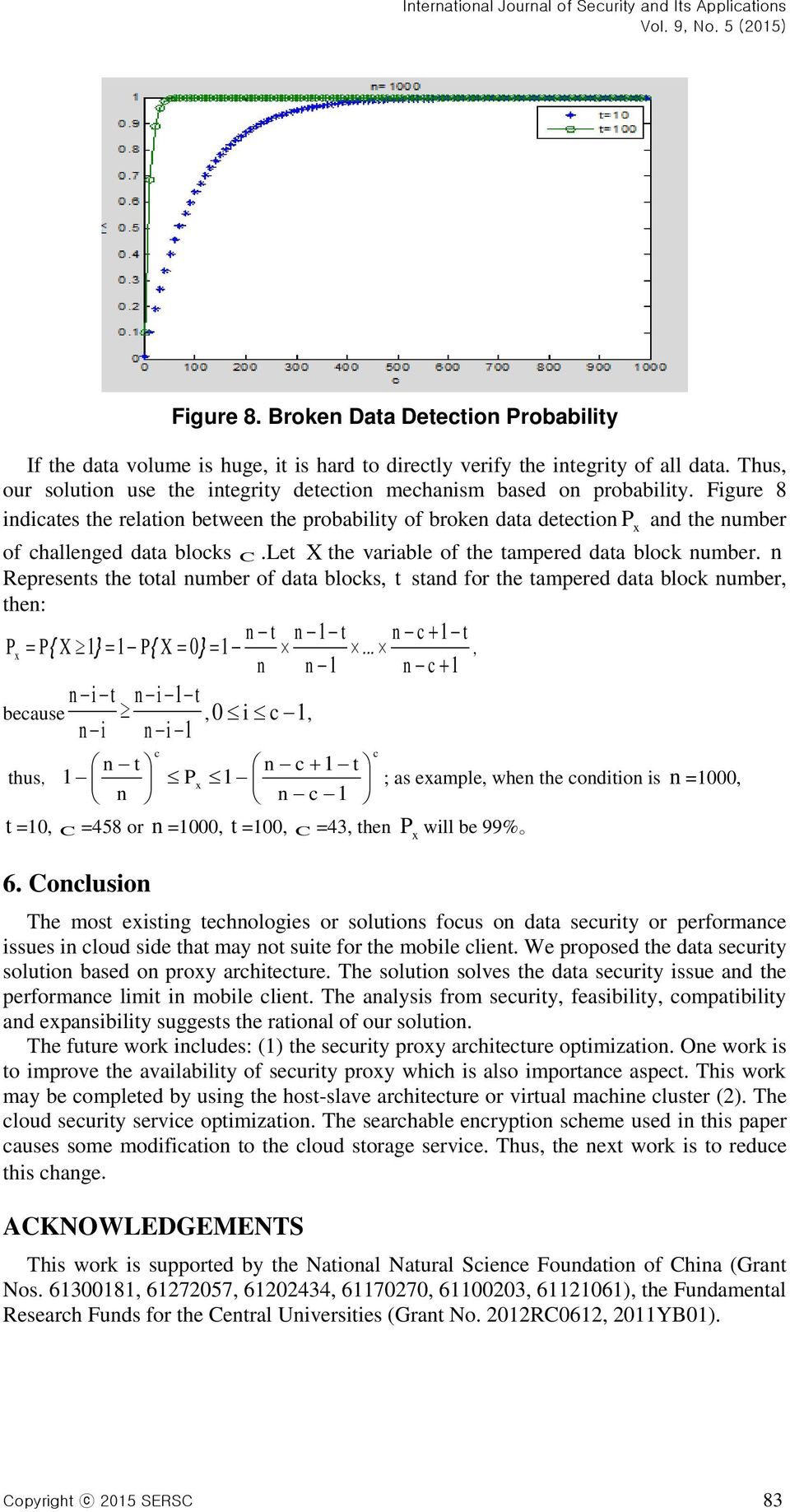 Figure 8 indicates the relation between the probability of broken data detection P x and the number of challenged data blocks C.Let X the variable of the tampered data block number.