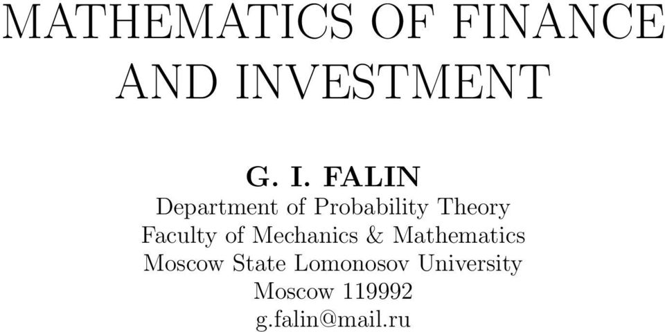 FALIN Department of Probability Theory