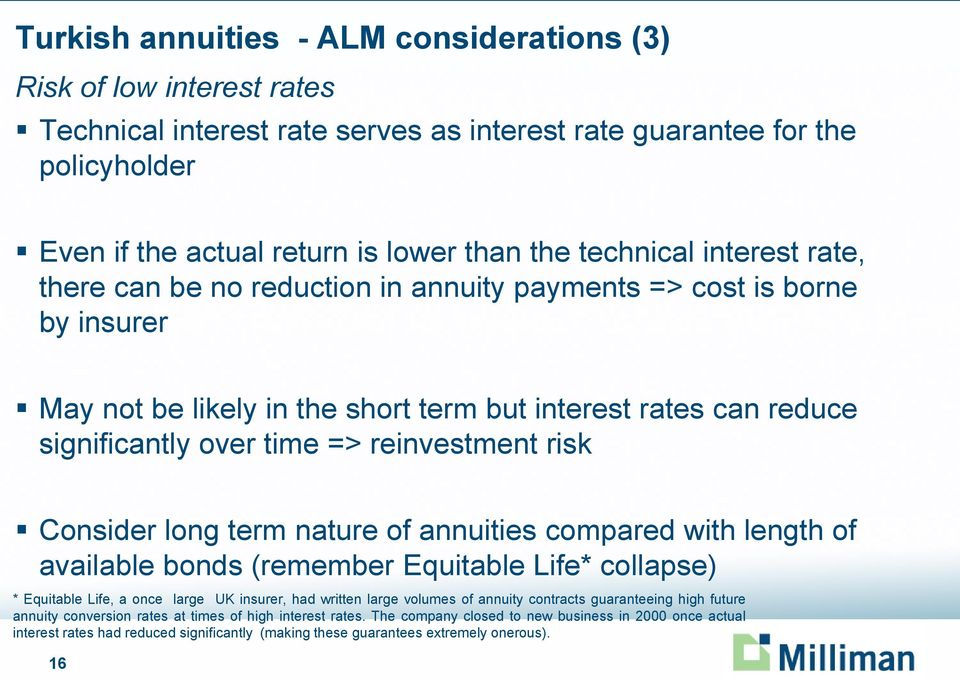 reinvestment risk Consider long term nature of annuities compared with length of available bonds (remember Equitable Life* collapse) * Equitable Life, a once large UK insurer, had written large