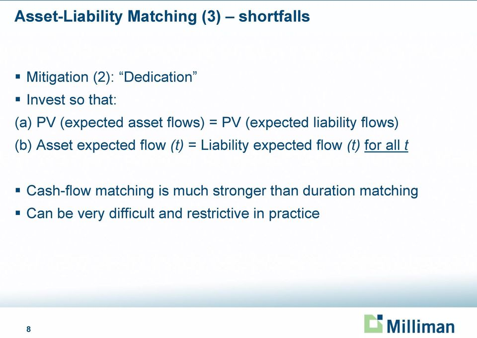 expected flow (t) = Liability expected flow (t) for all t Cash-flow matching is
