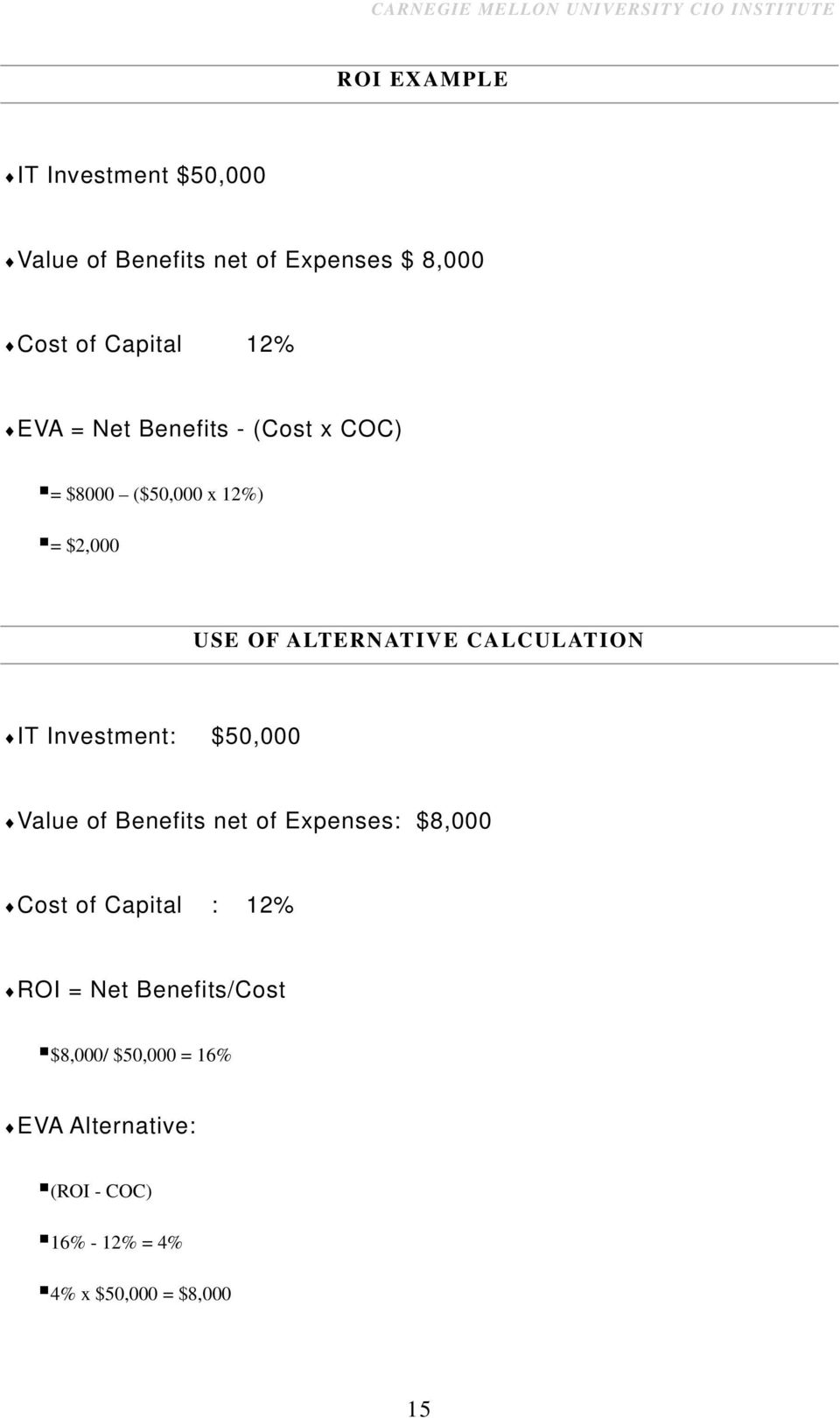 IT Investment: $50,000 Value of Benefits net of Expenses: $8,000 Cost of Capital : 12% ROI = Net