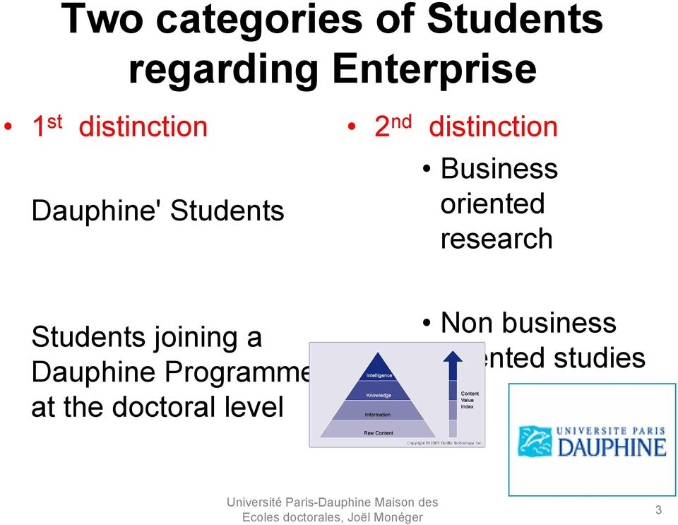 Business oriented research Students joining a Dauphine