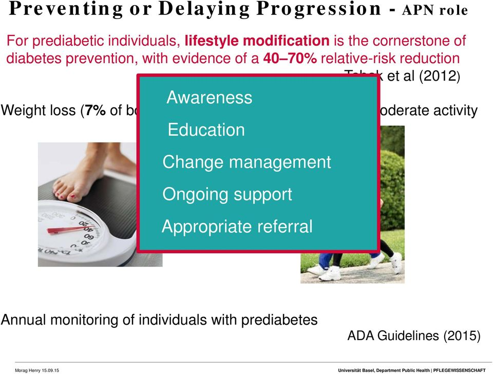 Weight loss (7% of body weight) Awareness Education Change management Ongoing support Appropriate