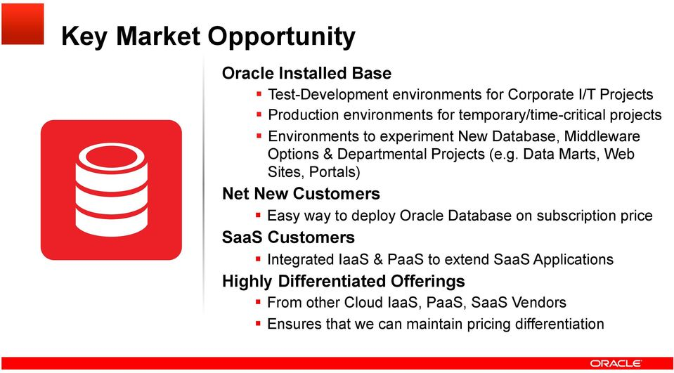 Data Marts, Web Sites, Portals) Net New Customers Easy way to deploy Oracle Database on subscription price SaaS Customers Integrated IaaS