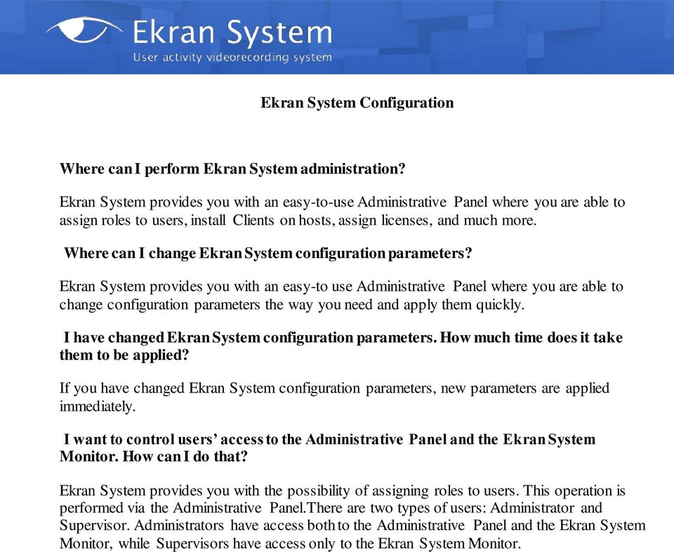 Where can I change Ekran System configuration parameters?