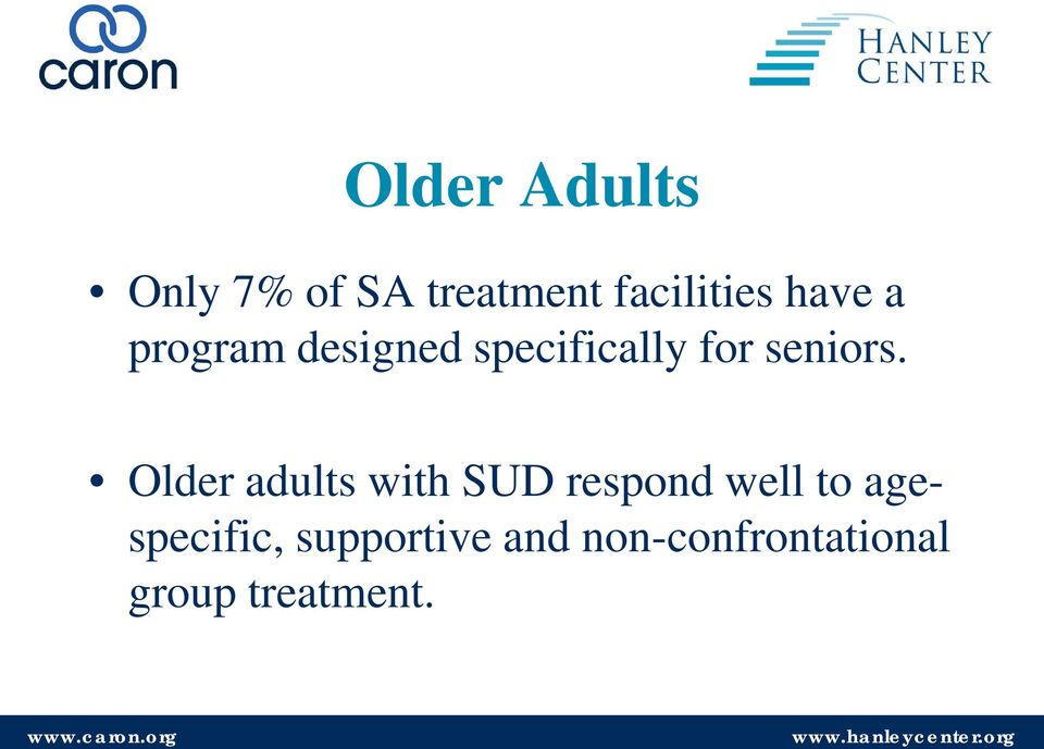 Older adults with SUD respond well to
