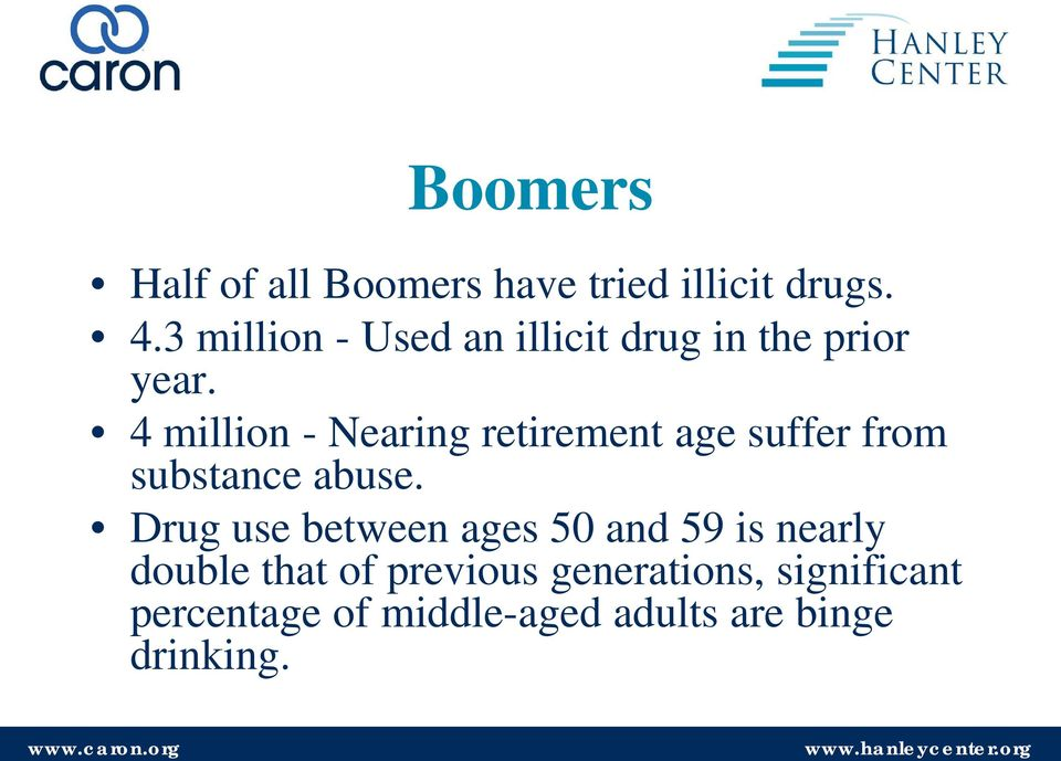 4 million - Nearing retirement age suffer from substance abuse.