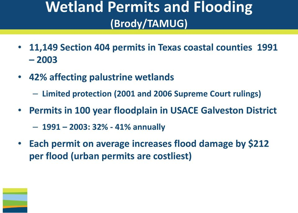 Court rulings) Permits in 100 year floodplain in USACE Galveston District 1991 2003: 32% - 41%
