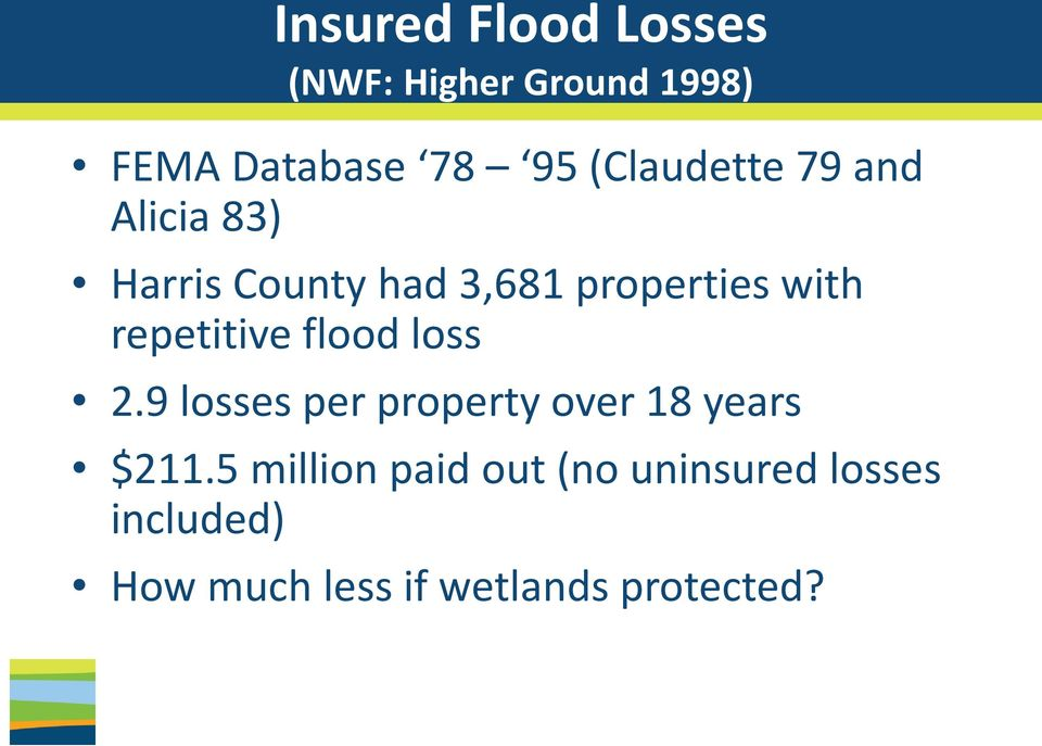 repetitive flood loss 2.9 losses per property over 18 years $211.