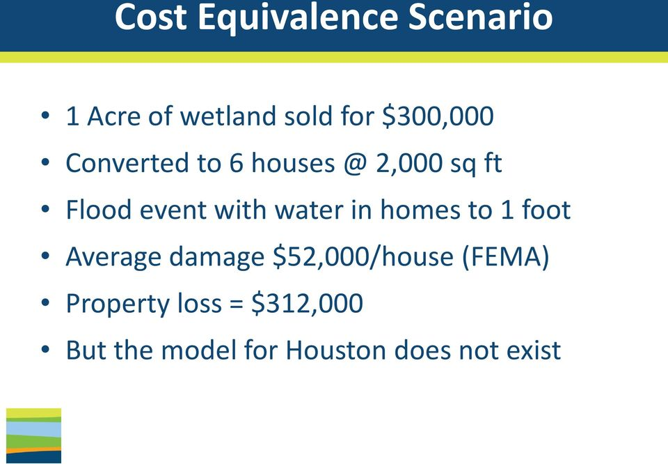 with water in homes to 1 foot Average damage $52,000/house
