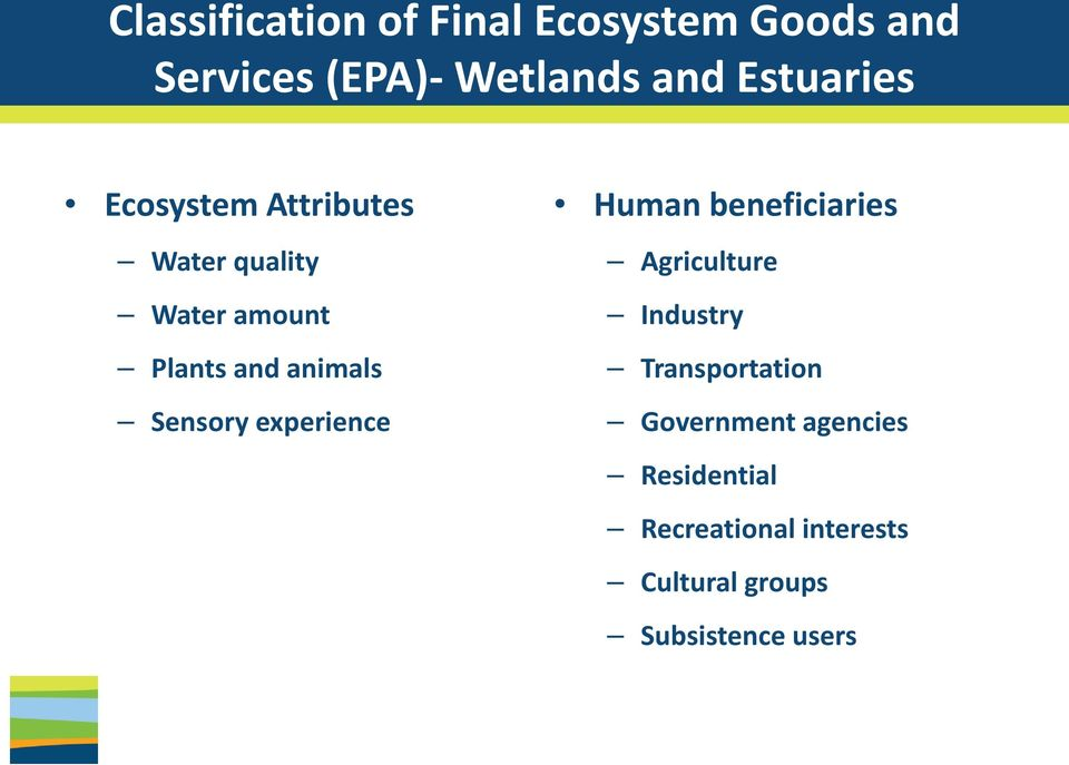 Water amount Industry Plants and animals Transportation Sensory experience