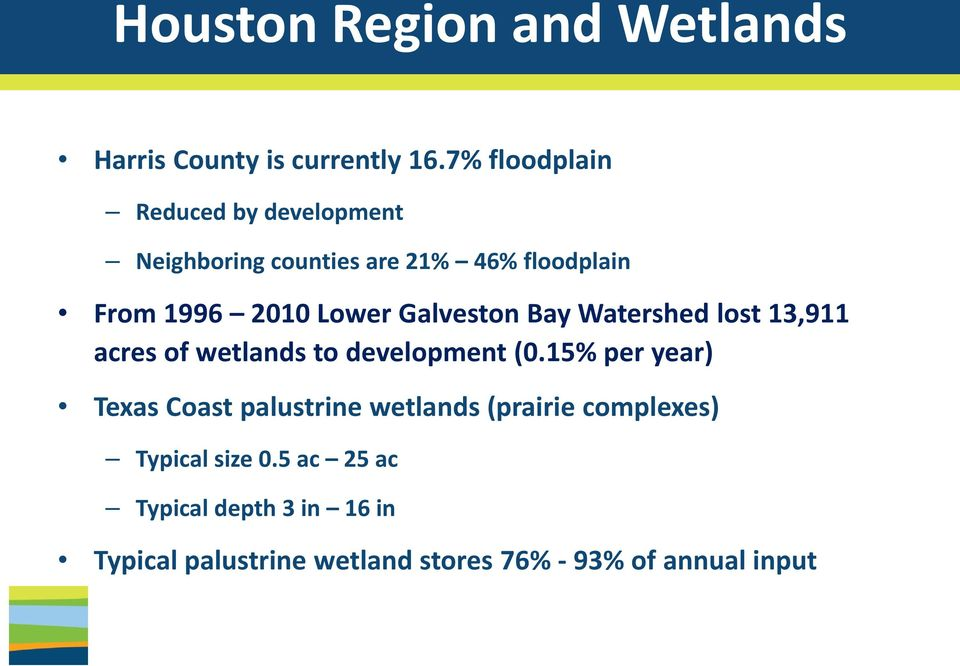 Galveston Bay Watershed lost 13,911 acres of wetlands to development (0.
