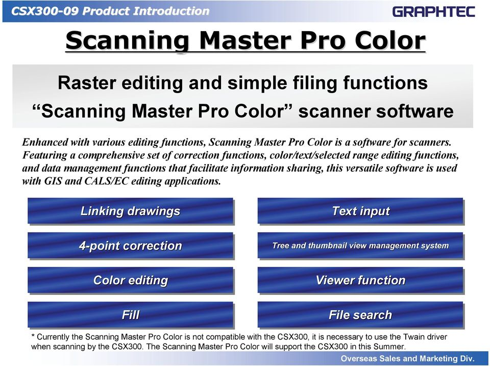Featuring a comprehensive set of correction functions, color/text/selected range editing functions, and data management functions that facilitate information sharing, this versatile software is used