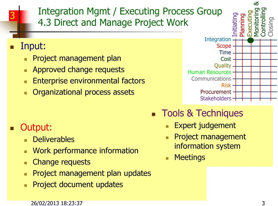 Deliverables Work performance information Change requests