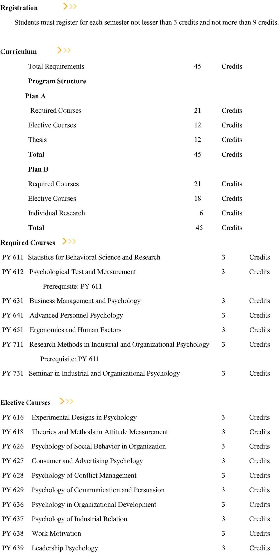 Elective Courses 18 Credits Individual Research 6 Credits Total 45 Credits Required Courses PY 611 Statistics for Behavioral Science and Research PY 612 Psychological Test and Measurement