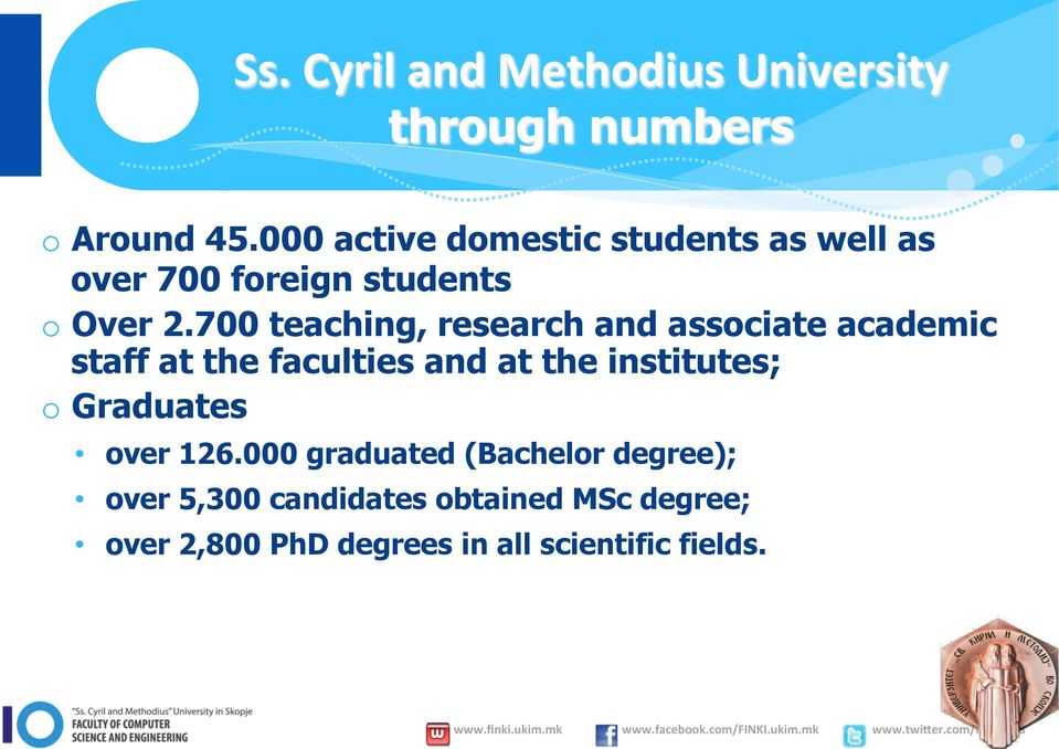 700 teaching, research and associate academic staff at the faculties and at the institutes; o
