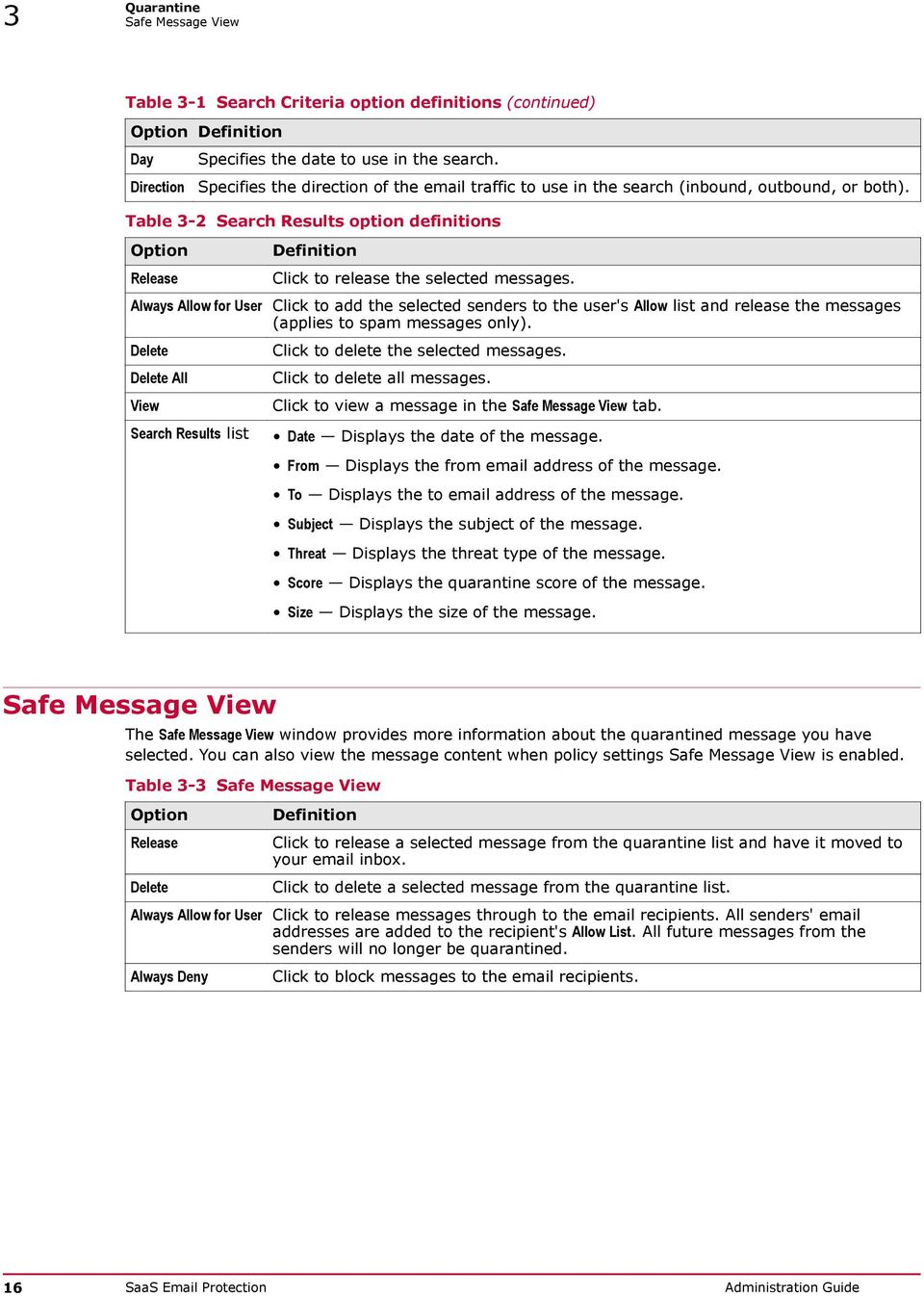 Table 3-2 Search Results option definitions Release Always Allow for User Delete Delete All View Search Results list Definition Click to release the selected messages.